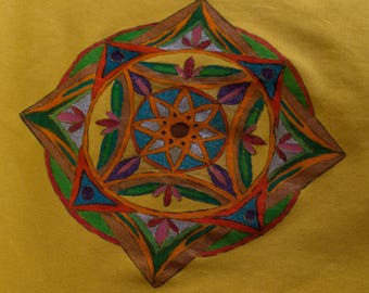 T Shirt women - Size L - drawn Mandala - handmade