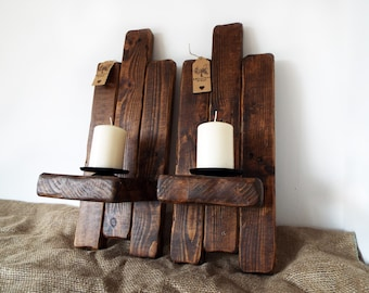 Wall mounted sconce pillar candle holders handmade, rustic, farmhouse, chic. Large, simply stunning. Perfect gift