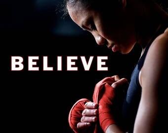 BELIEVE, Motivational quotes, motivational poster, motivational wall decor, motivational art, inspirational quotes (JS1413)