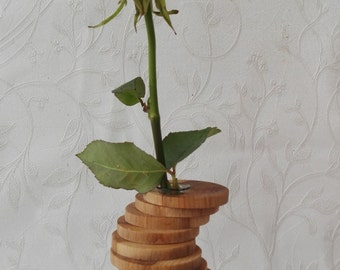 Wooden flower vase with test tube, wooden bud vase, test tube vase, flower vase, mini vase, gift for mom