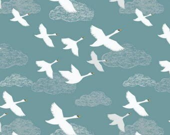 Down by the Riverside, swans in flight, teal background fabric by Lewis & Irene