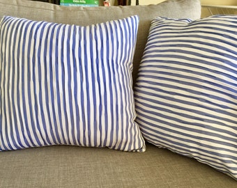Blue and White Stripe Textured Cushion Cover Throw Pillow Cover 40x40cm