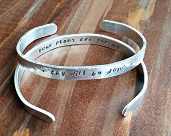 Metal Stamped Bracelet - thy will be done/your plans are for me