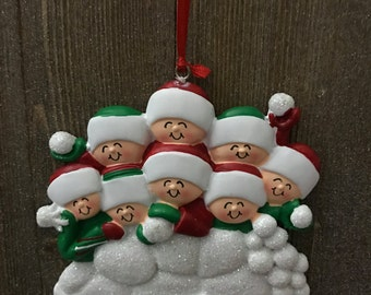 Personalized family of 8 Christmas ornament