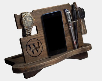 Docking Station, Personalized gift for men, Gift for Men, husband gift, iphone holder, iphone charging, stand iphone, Mod10037