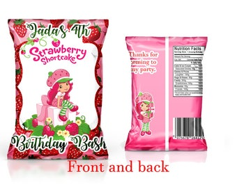 Strawberry Shortcake Favor chip bags----YOU PRINT