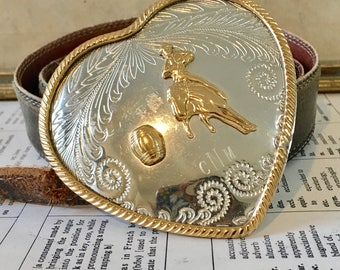 German Silver Vintage Heart Belt Buckle!