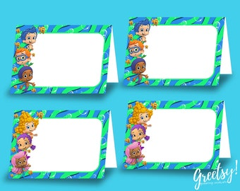Bubble Guppies Food Labels, Bubble Guppies Birthday Labels, Bubble Guppies Party Labels, Food Tent Cards, Bubble Guppies Printables, Labels