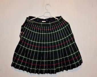 Vintage  PLAID RED Skirt  38/M SIZE 90s grunge