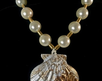 Pearl & Gold Seashell necklace .