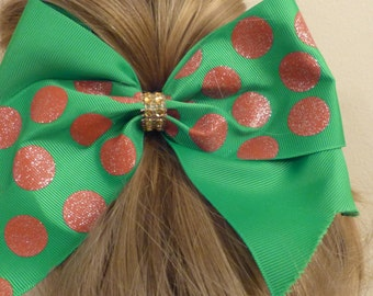 Cheer Bow green with red dots
