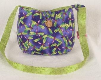 Handmade Fabric Purple Dragonfly Crossbody Bag