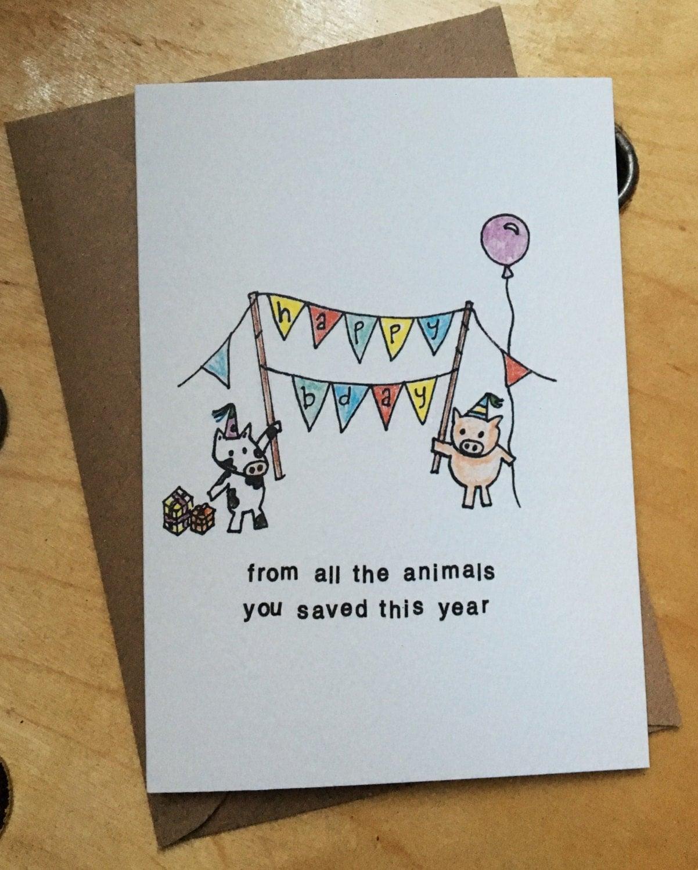 Vegan Surprise Party Birthday Card