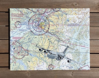 Air Force Gift, C-17 Globemaster, Flying Lesson Gift, Aviation Gift, Pilot Gift, Air Force Retirement Gift, Sectional Chart, Gifts for pilot