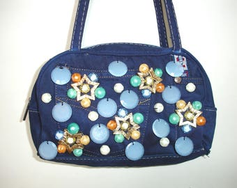 Blue jeans purse with plexiglass decorations, gift for her