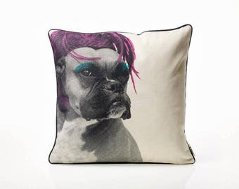 Colorful Boxer - Dog-Pop Art-Decorative pillow