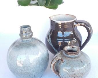 Set of 3 miniature pots in glazed terracotta