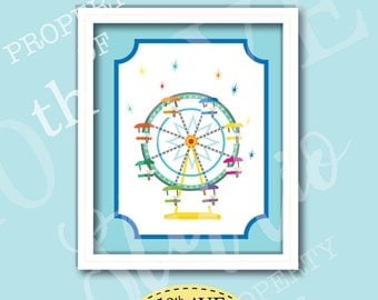 Carnival Circus Ferris Wheel 8x10 Instant Download Print Your Own Wall Art