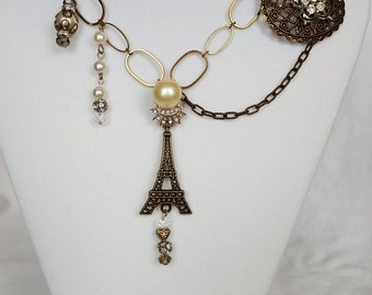 Vintage Statement Necklace Eiffel Tower Charm Jewelry for Women 24 Inch Chain
