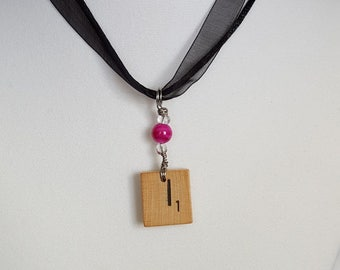 """Wire Wrapped Scrabble Tile Initial """"I"""" Necklace Jewelry for Women Free Shipping Jewelry Monogram Necklace"""