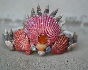 Red Temptress Shell Crown, Mermaid Crown
