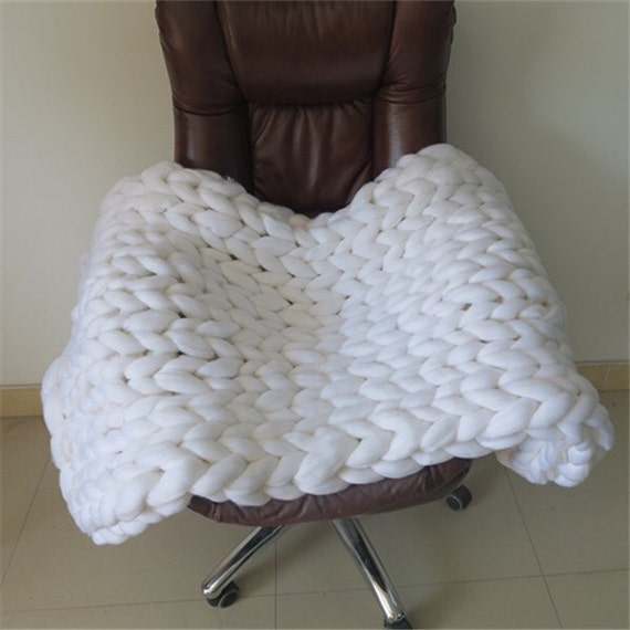 Large Knitting Blankets : Arm knit blanket big weighted chunky knitted by goodsbymika
