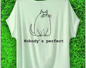 Plus Size Nobody's Perfect T-shirt Women's Shirt 100% Cotton Tee