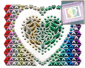 Heart Love Gem Bling Scrapbook Craft Stickers Recollections Color Splash Valentine
