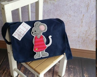Blue nursery bag with name mouse mice
