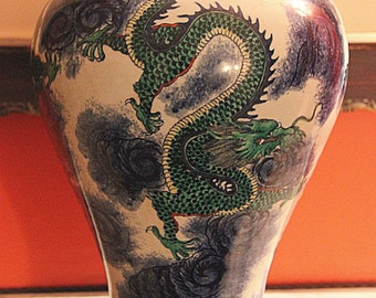 Vintage genuine Chinese porcelain vase with Imperial Dragon decor