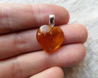 Genuine Baltic Amber Honey HEART Baltic Amber 925 Sterling Silver Pendant with Insect