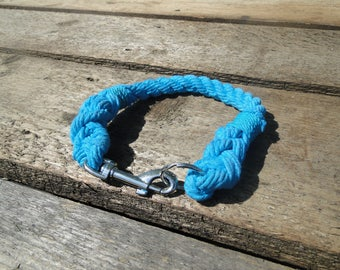 Rope dog collar, cotton rope collar, natural dog collar, nautical dog collar, traditional dog collar, blue rope dog collar