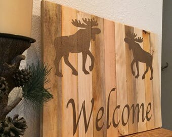 Rustic country wood welcome sign Entryway decor Wood sign for front door with moose Cabin or lodge decor Welcome sign for home