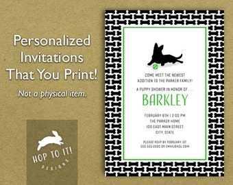 Dog/Puppy Shower Party Invitation - Digital File - You Print