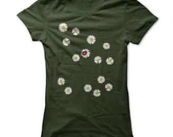 Ladybug Shirt - Ladybug And Daisies T shirt - Womens Ladybug Tshirt - Cute Ladybug Tshirts - Ladybug Shirt - Lady Bug Tshirts - Womens S-3XL