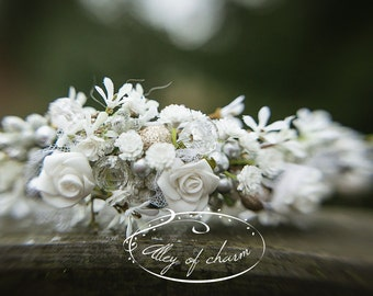 wedding, wedding headpiece, Wedding Flower Hair Comb of white Flowers and little silver and pearl beads, Wedding Hair Bridal Headpiece