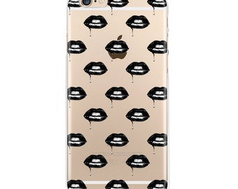 Dark Lips iPhone 7 Case, iPhone 6 case, iPhone 6s case, iPhone 6s plus transparent clear iPhone case