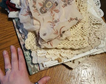 Vintage and new fabric and lace lot 6