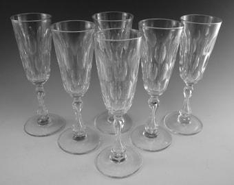 ANTIQUE WINE Glass / Glasses - Set of 6 Champagne Glasses