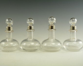 Sterling Silver PERFUME BOTTLE / Bottles - Set of 4 - Tot