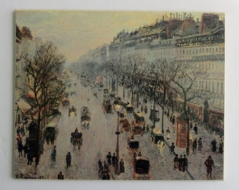 The Boulevard Montmartre on a Winter Morning by Camille Pissarro 1897  Print Plaque