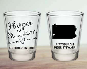 Custom Pennsylvania Wedding Favor Shot Glasses