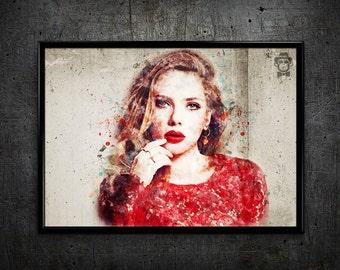 Scarlett Johansson print Scarlett Johansson art print wall art home decor