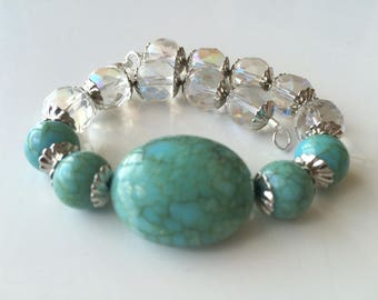 Turquoise and Crystal Beaded Bracelet/ Beaded Bracelet