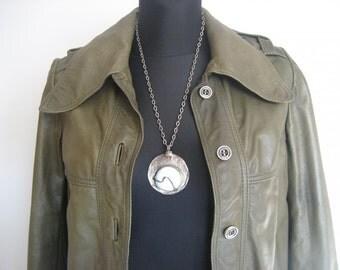 Unique 70s lether khaki jacket, coat