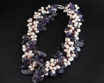 Collar four strands of pearls cultured and Amethyst