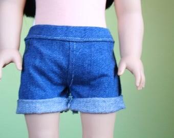 Cuffed denim shorts ~ 18 inch doll clothes