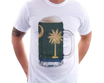 South Carolina State Flag Beer Mug Tee, Unisex, Home State Tee, State Pride, State Flag, Beer Tee, Beer T-Shirt, Beer Thinkers, Beer Lovers