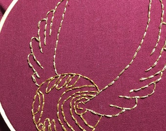 3 inch Golden Snitch hand stitched embroidery hoop