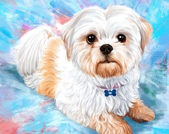 Custom dog portrait Painting of your dog Portrait from photo Digital Dog illustration Wall art printable Christmas Idea Gift pet art